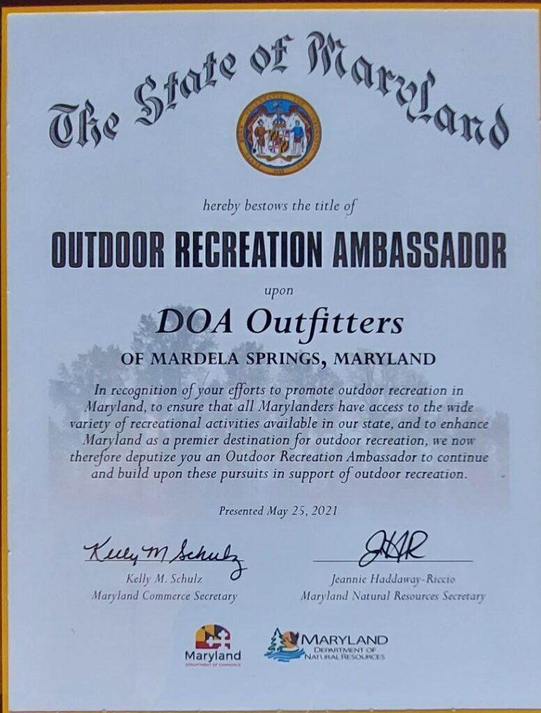 Outdoor Recreation Ambassador Certfication for DOA Outfitters